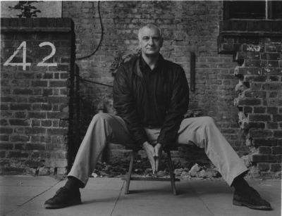 Douglas Adams at the American Atheists\' interview (black and white image)