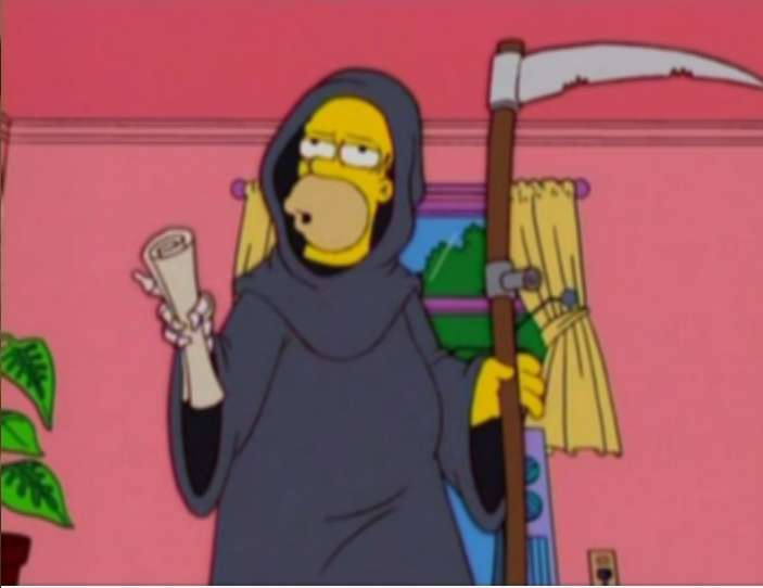 Homer Simpson as the Grim Reaper in Simpsons Halloween episode