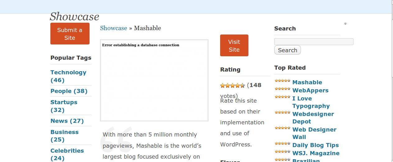 Mashable.com on WordPress Showcase