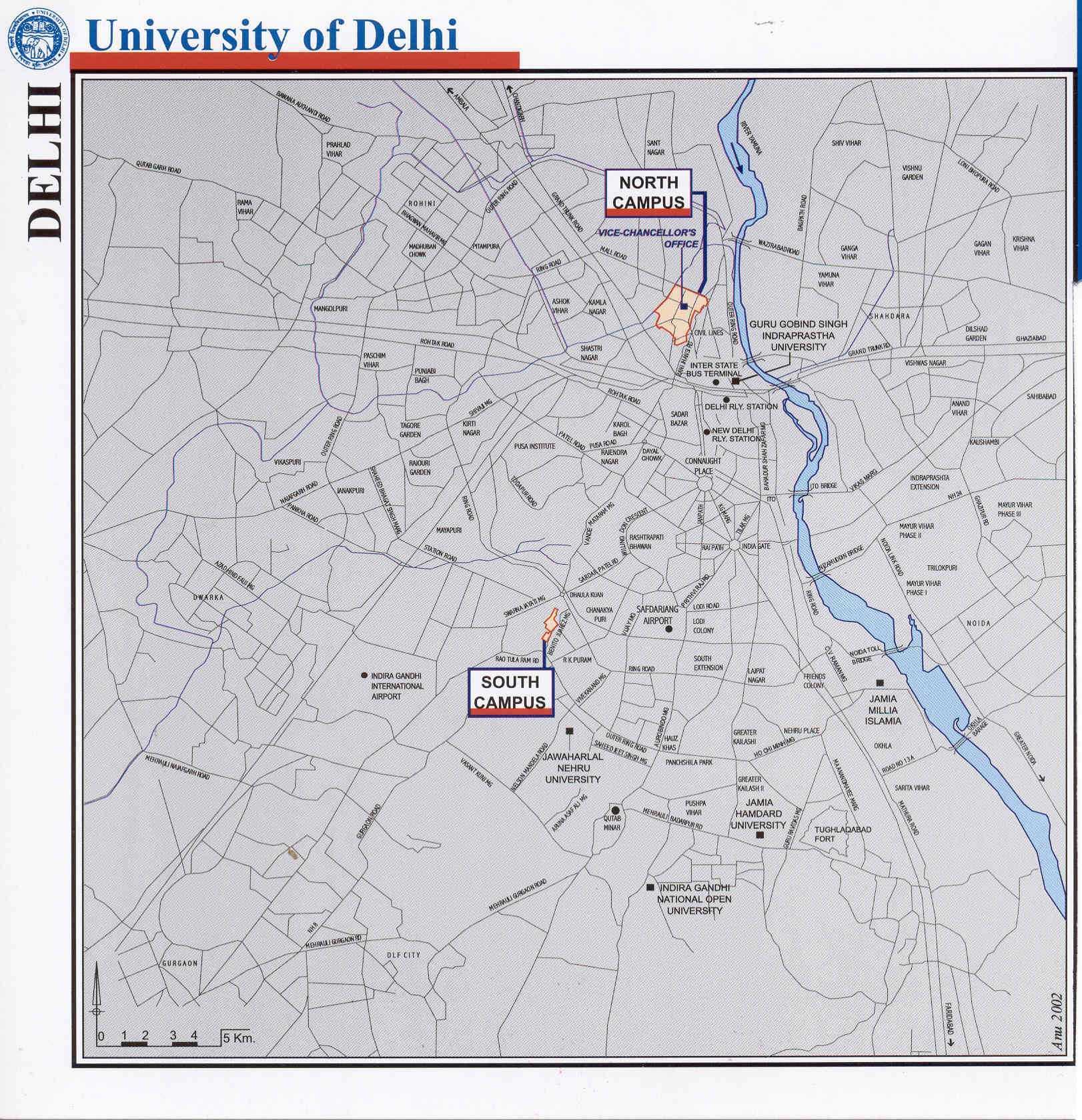 Delhi University North Campus and South Campus location