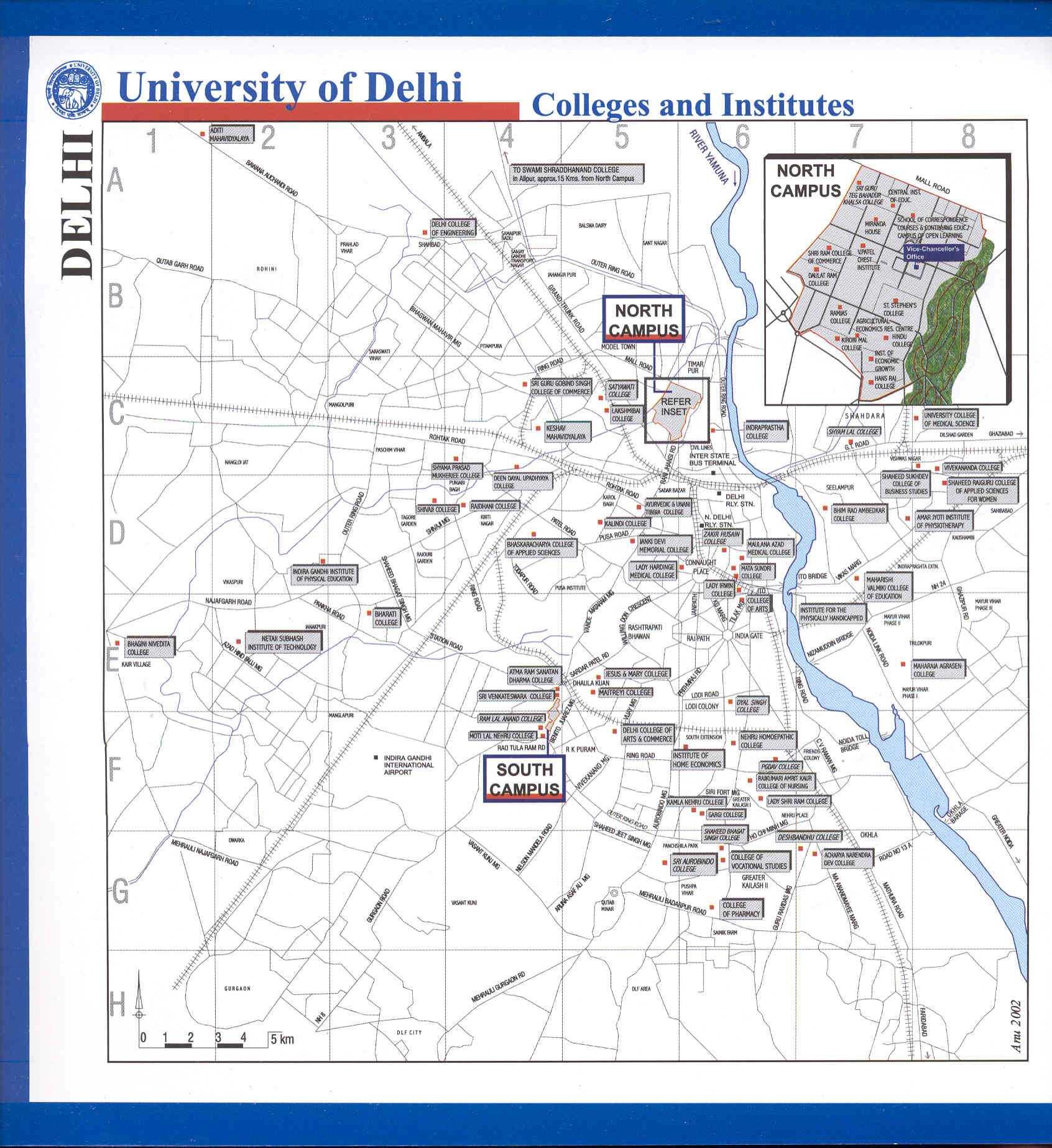 Delhi University college locations map